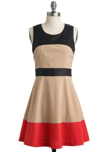 Dressed to the Lines Dress - Mid-length, Tan, Red, Black, Party, A-line, Sleeveless, Faux Leather