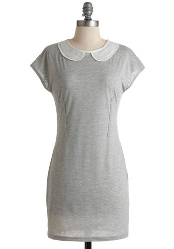 Casual Conviction Dress - Grey, White, Solid, Peter Pan Collar, Sequins, Casual, Sheath / Shift, Short Sleeves, Fall, Short