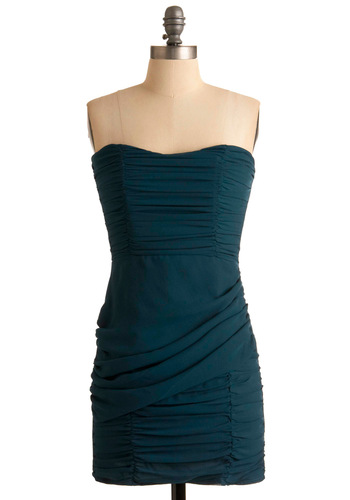 Gather the Girls Dress - Green, Solid, Strapless, Exposed zipper, Party, Sheath / Shift, Short