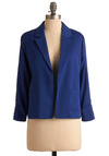 Business Blue Jacket - Short, Blue, Solid, Work, Long Sleeve, Fall, Menswear Inspired, 1