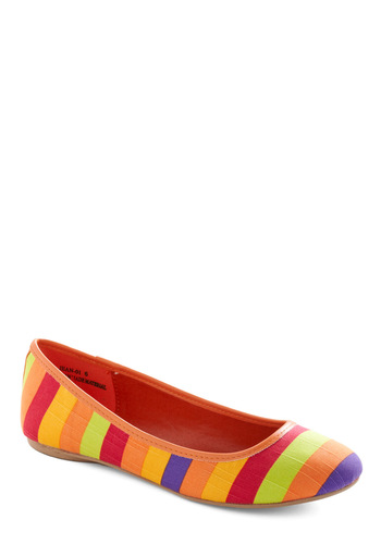 Are You Sherbet? Flat in Citrus - Red, Yellow, Purple, Stripes, Casual, Spring, Orange, Multi