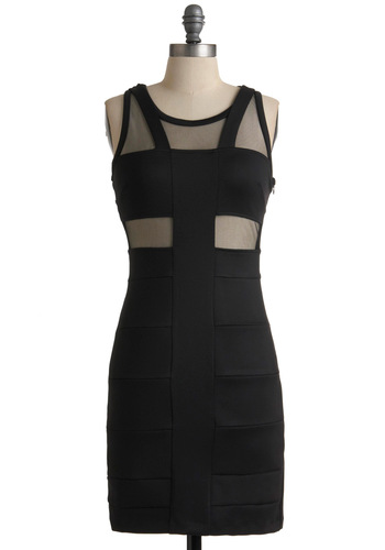 Sunset Boulevard Bash Dress - Mid-length, Black, Cutout, Shift, Sleeveless, Solid, Party, Girls Night Out, Bodycon / Bandage, Sheer