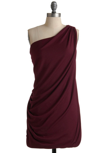 Youngberry at Heart Dress - Red, Solid, One Shoulder, Party, Sheath / Shift, Fall, Short