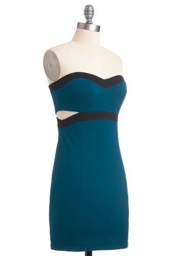 Cutout for Fun Dress - Blue, Black, Solid, Cutout, Strapless, Party, Sheath / Shift, Short