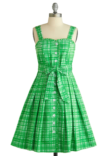 My First Picket Fence Dress by Dear Creatures - Green, White, Print, Buttons, Party, Vintage Inspired, 60s, A-line, Tank top (2 thick straps), Spring, Mid-length, Belted, Cotton