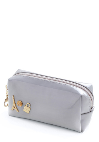 Bonjour, Paris Pouch - Grey, Gold, Solid, Casual