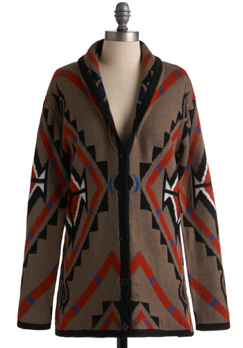 Haven't We Geometric? Cardigan - Long, Brown, Multi, Red, Blue, Black, White, Buttons, Long Sleeve, Casual, Folk Art, Print, Fall