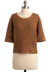 Rock 'Em Stockholm Sweater - Short, Brown, Solid, Knitted, Casual, Short Sleeves, Fall