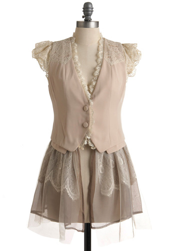 Coalesce Is More Jacket by Ryu - Long, Cream, Lace, Ruffles, Party, Vintage Inspired, Cap Sleeves, Spring, 1