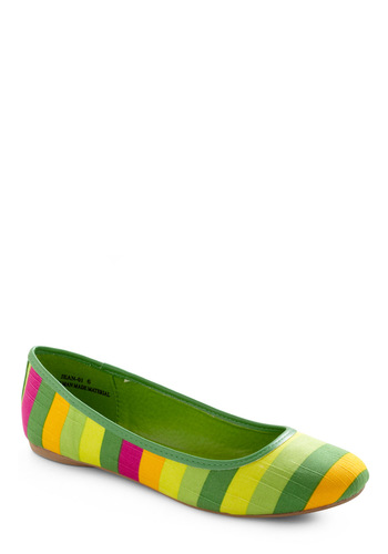 Are You Sherbet? Flat in Lime - Red, Yellow, Stripes, Green, Casual, Spring
