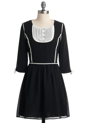 Demure the One Dress by Knitted Dove - Mid-length, Black, White, Solid, Bows, Buttons, A-line, 3/4 Sleeve, Trim, Work, Fall