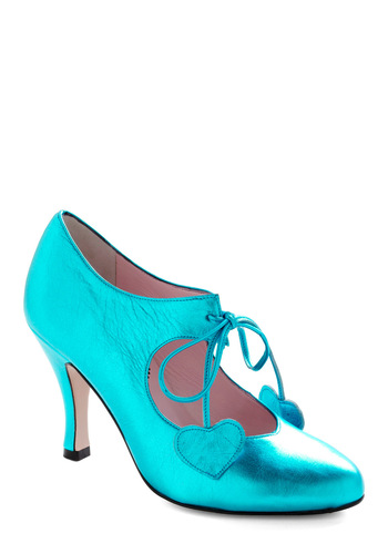 Heart of Bold Heel - Party, Statement, Blue, Solid, Wedding, Vintage Inspired, International Designer