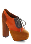 Monarch Wingtip Heel - Brown, Grey, Orange