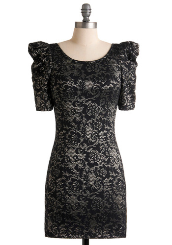 Shadow Art Dress - Mid-length, Black, Floral, Lace, Short Sleeves, Silver, Party, Sheath / Shift, Cocktail, Girls Night Out, Holiday Party, Bodycon / Bandage