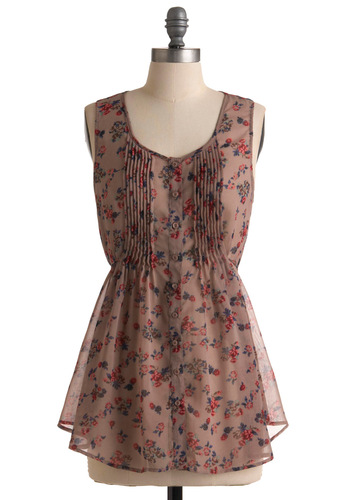 Rose-lined Lane Tunic - Long, Tan, Red, Green, Blue, Brown, Floral, Pleats, Sleeveless, Spring