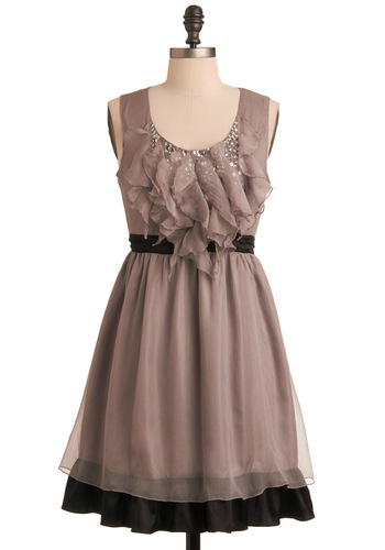 Taupe Secret Dress by Ryu - Mid-length, Grey, Black, Solid, Ruffles, Sequins, Party, A-line, Sleeveless