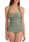Bathing Beauty One Piece in Green Gingham by Esther Williams - Green, White, Checkered / Gingham, Summer, Pinup, Halter