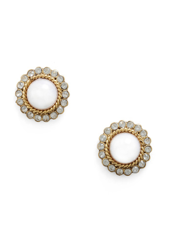 Mature de Force Earrings - White, Gold, Pearls, Rhinestones