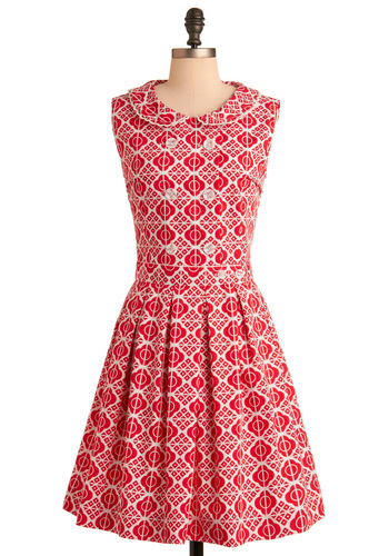 Red-y for Tea Dress by Dear Creatures - Mid-length, Vintage Inspired, 70s, Red, White, Print, Buttons, Peter Pan Collar, Trim, Party, 60s, A-line, Sleeveless, Exclusives, Cotton, Collared, Fit & Flare