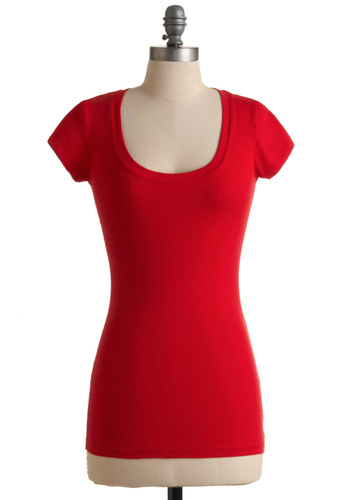 What's the Scoop Neck Top in Red - Casual, Red, Solid, Short Sleeves, Fall, Mid-length, Scoop