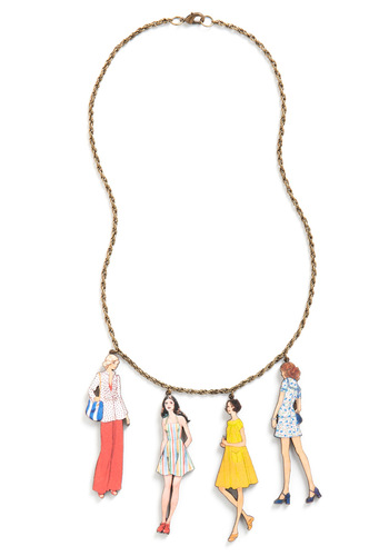 World's Smallest Lookbook Necklace in 70s - Multi, Gold, Red, Yellow, Blue, White, 70s
