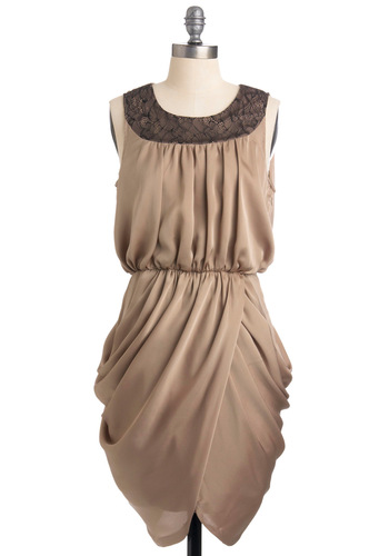 Taupe of the Hour Dress - Tan, Black, Solid, Lace, Sheath / Shift, Sleeveless, Party, Mid-length