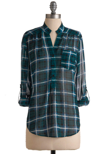 Living Room Lodging Top in Blue Spruce - Black, Grey, White, Plaid, Buttons, Pockets, Long Sleeve, Multi, Blue, Casual, Fall, Mid-length, Sheer, Best Seller, Button Down, Press Placement, Tab Sleeve, Green
