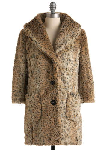 Feline Groovy Coat - Tan, Brown, Black, Animal Print, Buttons, Pockets, Long Sleeve, Winter, Long, Party, Statement, 3