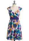 Make a Good Impressionist Dress - Multi, Yellow, Green, Blue, White, Floral, Lace, A-line, Cap Sleeves, Casual, Spring, Mid-length, Purple