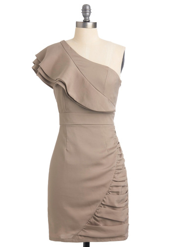 Ruffle and Flow Dress - Mid-length, Tan, Solid, Ruffles, Sheath / Shift, One Shoulder, Formal, Wedding, Party