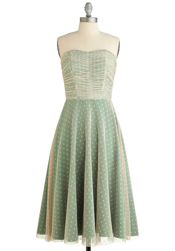 Dashing Damsel Dress by Stop Staring! - Tan / Cream, Polka Dots, Lace, Special Occasion, Wedding, Party, Vintage Inspired, A-line, Strapless, Prom, Long, Green, Exclusives, Pastel, Cocktail, Mint, Fit & Flare, Ruching, Sweetheart