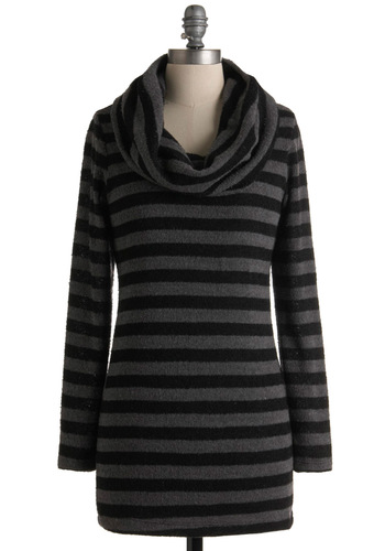 The Time is Striped Sweater - Long, Grey, Black, Stripes, Casual, Long Sleeve, Winter