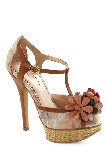 Fleur De Bloom Heels by Poetic License - Brown, Tan, Purple, Flower, Lace, Vintage Inspired, Floral, Party