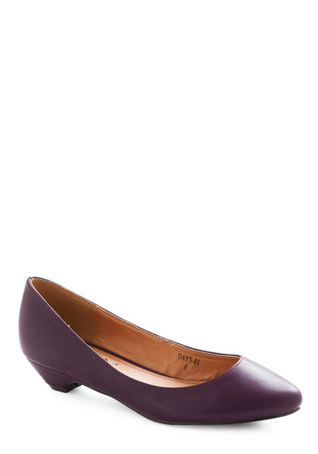 Last Minute Plans Heel - Work, Purple, Solid, Low, Faux Leather