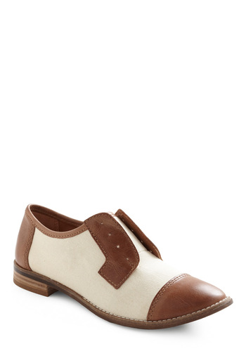 Penny Farthing Flat - Menswear Inspired, Brown, Cream, Solid, Fall