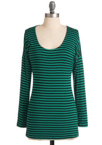 Sunday Supper Top - Green, Black, Stripes, Casual, Long Sleeve, Fall, Green, Mid-length, Scoop