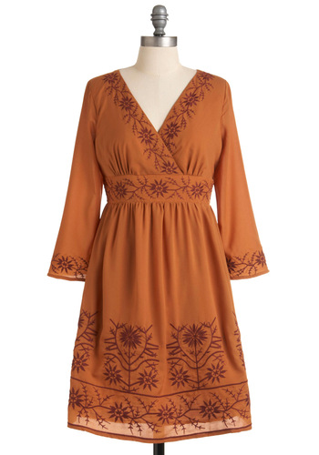 Terra Cotta Have It Dress - Mid-length, Brown, Embroidery, A-line, Boho, Orange, Floral, Party, Wrap, 3/4 Sleeve, Fall, Vintage Inspired, 70s