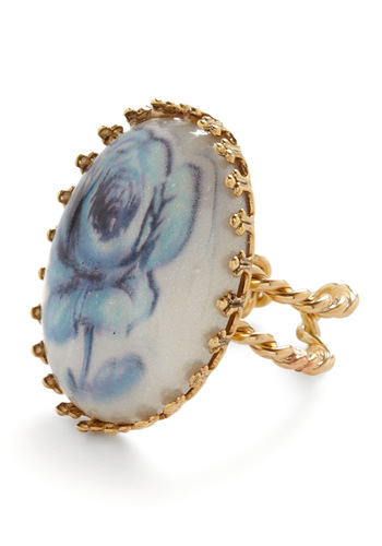 Gather Ye Rosebuds Ring - Blue, White, Gold, Floral