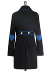 Love, Blue Love Coat - Long, Casual, Vintage Inspired, Black, Solid, Buttons, Patch, Long Sleeve, Fall, Rockabilly, 2