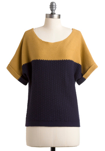 Time to Split Sweater - Mid-length, Casual, Knitted, Short Sleeves, Yellow, Fall, Blue