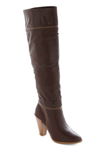 Stepping Out Boot in Chocolate - Brown, Solid, 60s, Casual, Fall