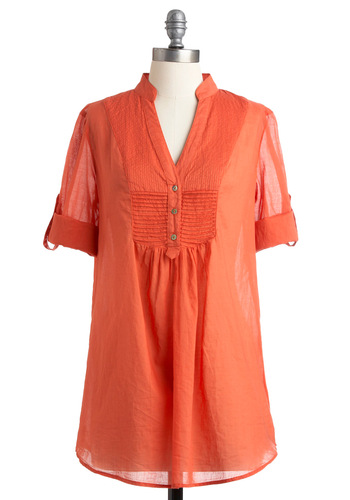 What a Retreat! Tunic in Melon - Long, Casual, Safari, Orange, Solid, Buttons, 3/4 Sleeve, Fall