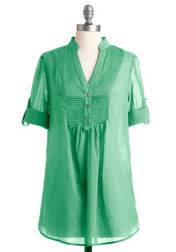 What a Retreat! Tunic in Key Lime - Long, Casual, Safari, Green, Solid, Buttons, 3/4 Sleeve, Fall