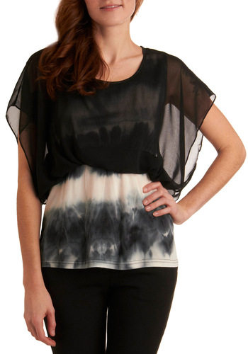 Dark and Stylish Night Top - Mid-length, Black, Grey, White, Tie Dye, Short Sleeves, Party