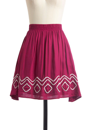 Winning Exhibit Skirt - Mid-length, Pink, White, Solid, Pockets, Trim, Party, A-line
