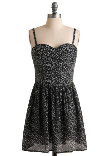 I'm Cracking Up Dress by Motel - Mid-length, Black, White, Print, Party, A-line, Spaghetti Straps