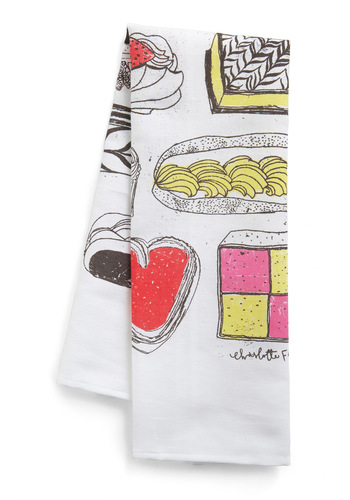 On the Rise Tea Towel - Multi, Print, Dorm Decor, Red, Yellow, Pink, Black, White
