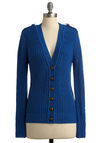 Can't Live Without Blue Cardigan - Mid-length, Casual, Menswear Inspired, Blue, Solid, Buttons, Knitted, Long Sleeve, Epaulets, Fall