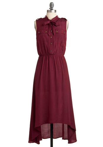 Blossoming in Burgundy Dress - Long, Red, Solid, Buttons, Epaulets, Maxi, Sleeveless, Casual, Pockets, Fall