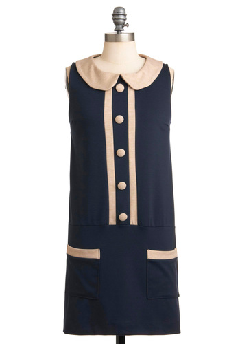 Drop Waist By to Say Hi Dress - Blue, Tan / Cream, Buttons, Peter Pan Collar, Trim, Sheath / Shift, Sleeveless, Casual, Vintage Inspired, 60s, Short, Scholastic/Collegiate, Collared, Mod